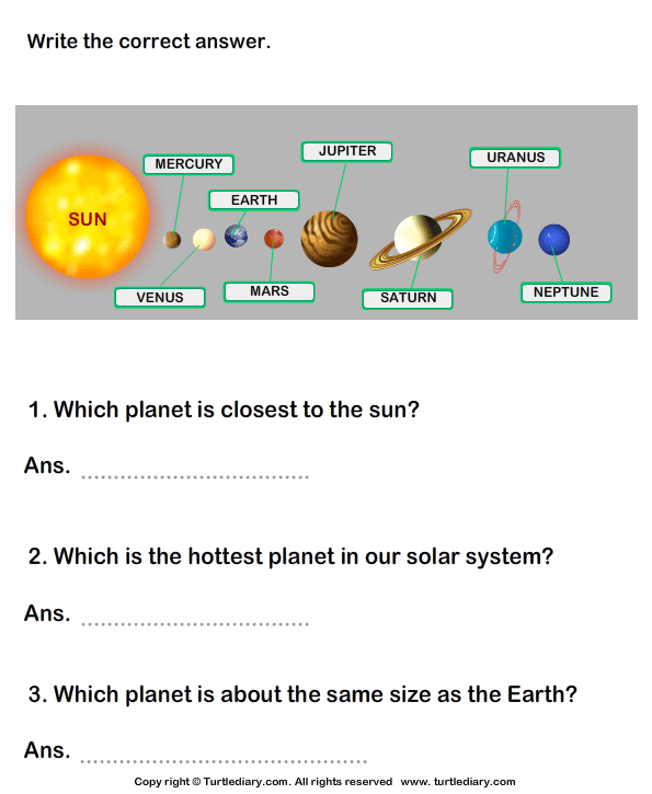 Solar System: Answer the questions - TurtleDiary.com
