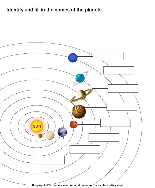 Label the eight planets