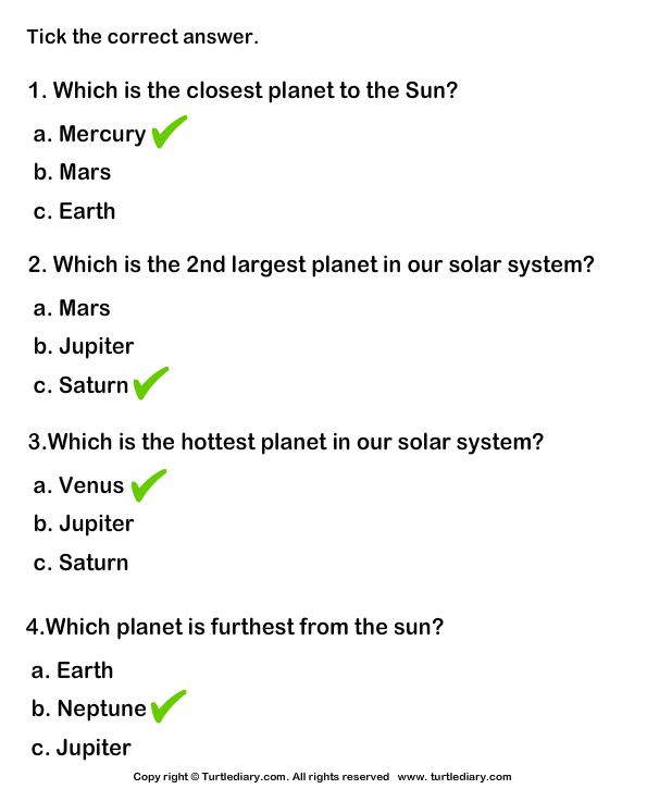 Solar System: Tick mark the right option Answer