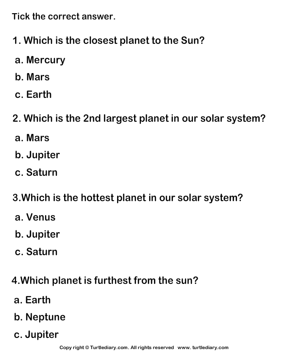 Solar System: Tick mark the right option