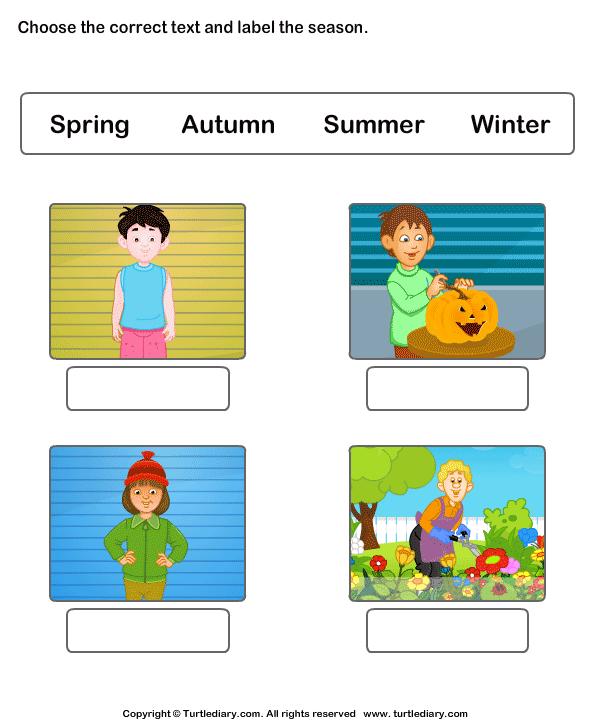 Free Worksheets worksheet for pre nursery class : Label the seasons - TurtleDiary.com
