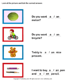 Choose Between a and An - determiners - Kindergarten