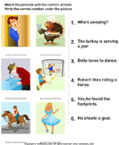 Match the Sentences to Pictures - verb - Kindergarten