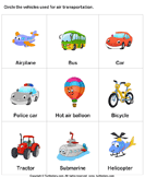 Air Transport - vocabulary - Kindergarten