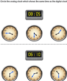 Match Analog and Digital Clocks - date-and-telling-time - Kindergarten
