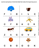 Beginning Sounds F C B K A V and O