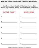 Cattle - Categorize the Animals - animals - First Grade