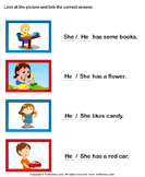 Choose Between She and He - nouns - Kindergarten