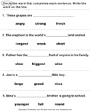 Find the Correct Adjective - adjectives - First Grade