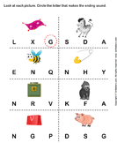 Circle the Letter that Makes the Beginning Sound of Words Represented by each Picture