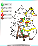 Christmas Color by Sum - christmas - Second Grade