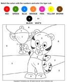 Color the Tiger Cub by Numbers