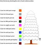 Color Ordinal Position - counting - Kindergarten