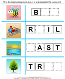 Fill in the Missing Long Vowel - phonics - Kindergarten