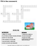 Complete the Crossword - spelling - Kindergarten