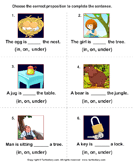Complete the Sentences Using in, on, and Under