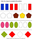 Complete the Shapes and Color Pattern