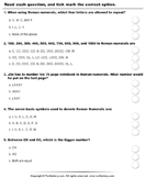 Roman Numerals (Xx Above) : Multiple Choice Questions - roman-numerals - Third Grade
