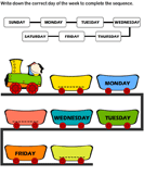 Sequence of Days of the Week - date-and-telling-time - Kindergarten