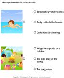 Action Verbs: Choose the Right Sentence - verb - Kindergarten