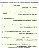Determine the Proper Noun for Each Sentence