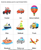 Land Transport - vocabulary - Kindergarten