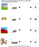 Complete the Words - vocabulary - Kindergarten
