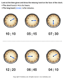 Draw Hour Hand of Clock - date-and-telling-time - First Grade