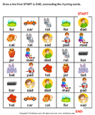 Connect the Rhyming Words - phonics - Kindergarten