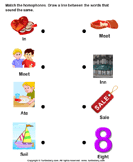 Match the Homophones - homonyms-homophones - First Grade
