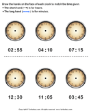 Draw Minute and Hour Hands of Clock - date-and-telling-time - First Grade