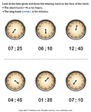 Draw Minute Hand of Clock - date-and-telling-time - First Grade