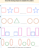 Complete the Missing Pattern - shapes - Kindergarten