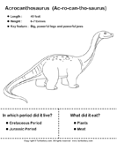 Dinosaurs - Determine the Period and Food Habits - animals - Second Grade