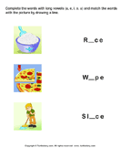 Complete the Words Using Long Vowel - phonics - First Grade