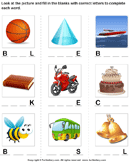 Fill in the Blanks with Correct Letters