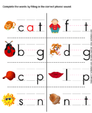 Fill in the Correct Phonic Sound - phonics - Kindergarten