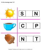 Fill in the Missing Vowel U