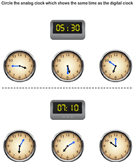Find Analog Clock Matching Digital Clock and Circle