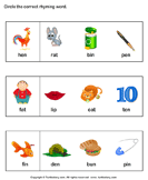 Identify Words That Rhyme - phonics - Kindergarten