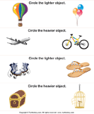 Heavier or Lighter Circle the Correct Object