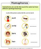 Write the Homophone of Words - homonyms-homophones - First Grade