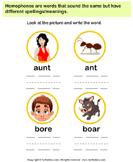 Spell the Homophones - homonyms-homophones - Kindergarten