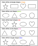 Color the Shape - geometry - Preschool