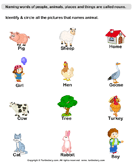 Printables Noun Worksheets For Kindergarten noun worksheets turtle diary words with animal names kindergarten