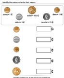 Identify Coins - units-of-measurement - Kindergarten