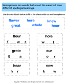 Identify Missing Letters of Homophones