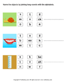 Identify Pictures by Joining Long Vowels with Alphabets