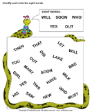 Identify Sight Words Will Soon Who Yes Out