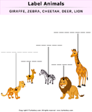 Label the Animal Pictures - animals - Kindergarten